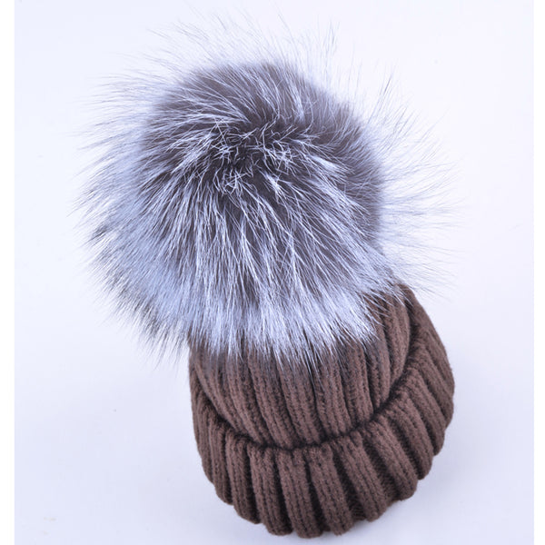 High quality winter hats for women beanies real fox fur hairball cap knitted wool bonnet