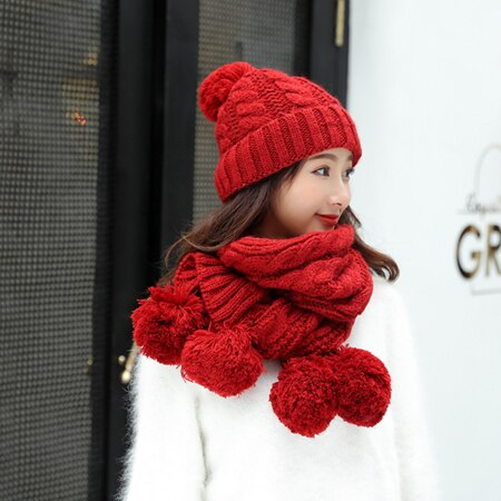 Winter Women Hats Scarf Thick  Hat Women Warm Knitted Fashion Casual Bonnet