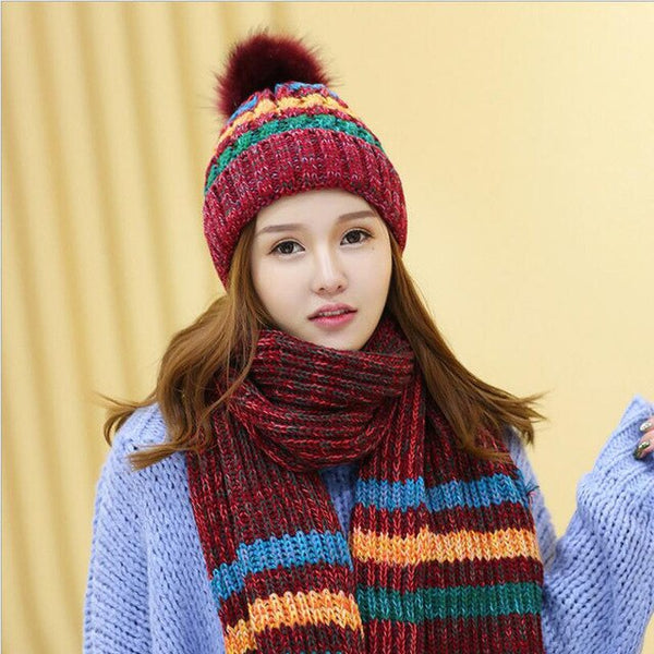 Winter Women Hats Scarf Thick Beanie Hat Women Warm Knitted Fashion Casual Bonnet