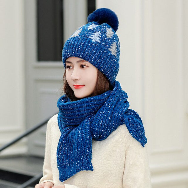Women Winter Knitted Hat Scarf Sets Wool Lining Warm Xmas Gift Snowflake Knit Bonnet