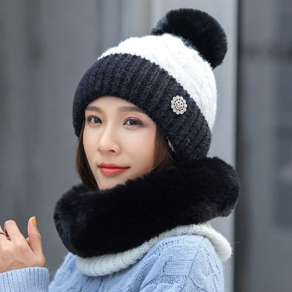 Winter Women's Double Color Knitted Hat And Thick Plush Scarf 2 Pieces Set Warm Bonnet