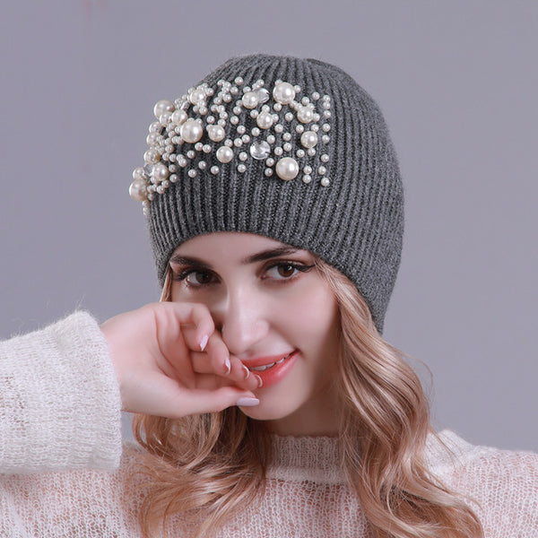 Women's Beanie Hat Winter White Pearls Knitted  Beanies for Ladies Cashmere Acrylic  Beanies Bonnet