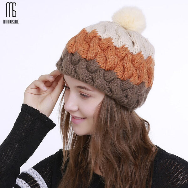 Ski Hat  Pure handcrocheted knitted blending fashion warm  bonnet casual  cute hats