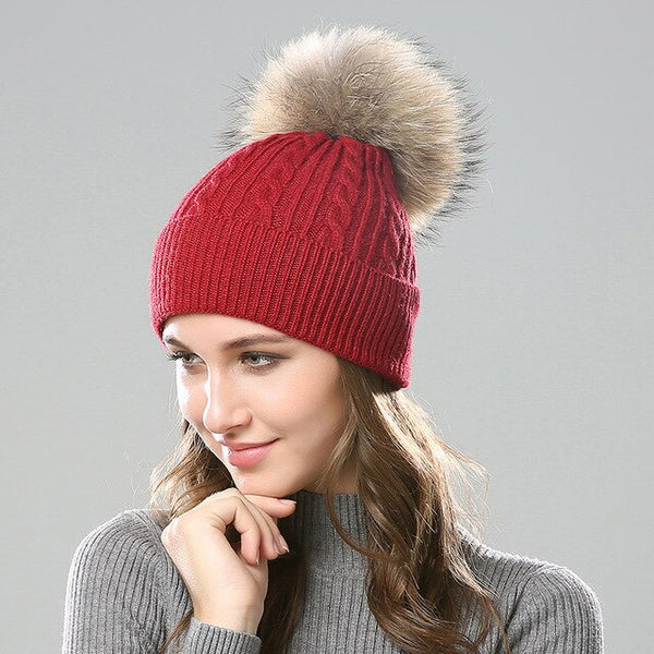 Outdoor Winter warm Fluffy Pompom Hat Women's Knitted Hat Beanie  Hat Wool Bonnet
