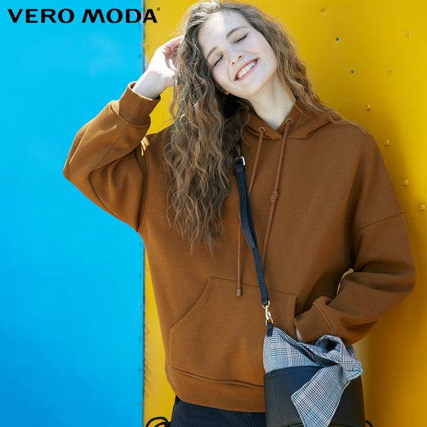 Vero Moda Women's hooded padded plush velvet leisure  hoodie sweatshirt