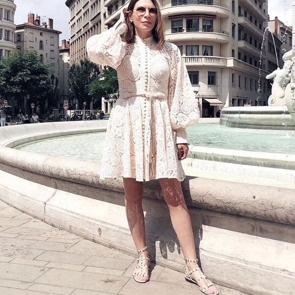 CAMIA 2019 new lace vintage pattern embroidery high waist elegant temperament bubble sleeve hollow stand collar dress