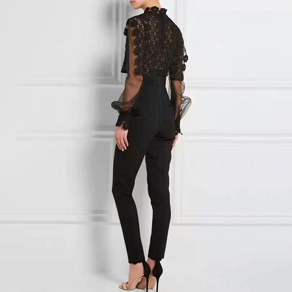 Sexy Perspective Women's Jumpsuits High Waist Long Sleeve Patchwork