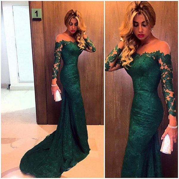 Green Long Lace Dress for Wedding 2020  Elegant Long Sleeves Mermaid Mother Dress Formal Party Dress Prom Gown Vestido De Novias