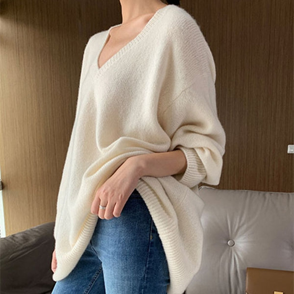 cashmere sweater women sweaters and pullovers long sleeve V-neck loose  pullover women