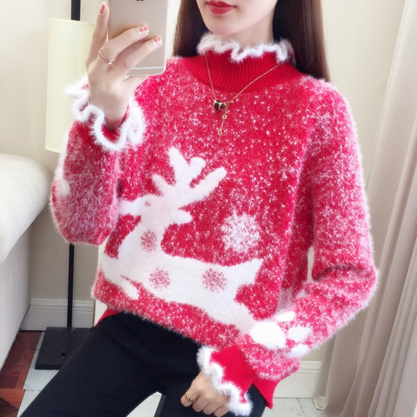 Christmas Sweater Red Women Jumper Winter Girl Pullover knitted Plush collar Soft Mohair Pink Elk pattern Velvet Student Fashion