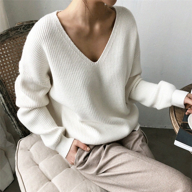 Womens Sweaters 2020 Autumn Winter Casual V Neck Women  Sweater Solid Long Sleeve  Knitted Cashmere