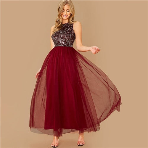 SHEIN Burgundy Sequin Bodice Party Maxi Dress Women 2020 Spring Sleeveless High Waist Zipper Back Glamorous Prom Long Dresses