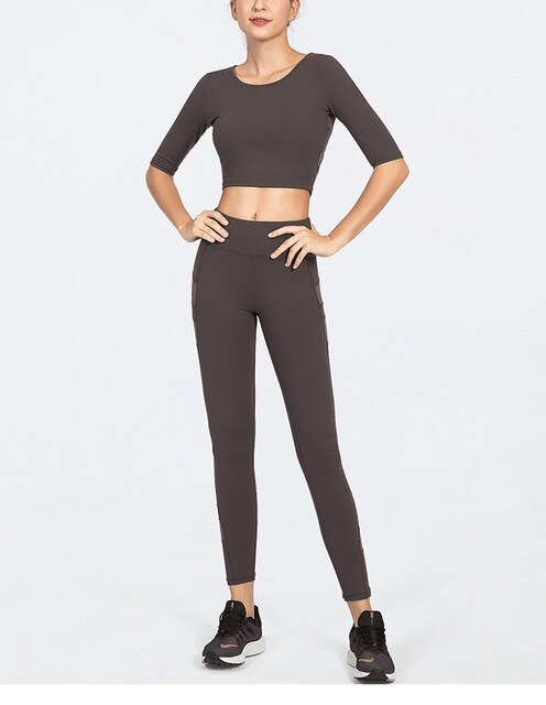 Yoga Suit Women Two Pieces Clothes Gym Suits Female Yoga Tracksuit Fitness Clothing Set Mid-Sleeve