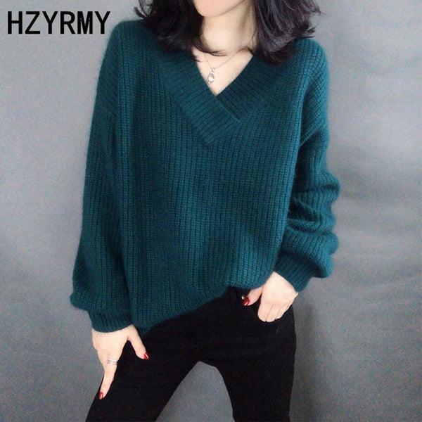 HZYRMY Autumn Winter New Women's Cashmere Sweater Solid color V-Neck Large size High Quality Pullover Warm Short Female Sweater