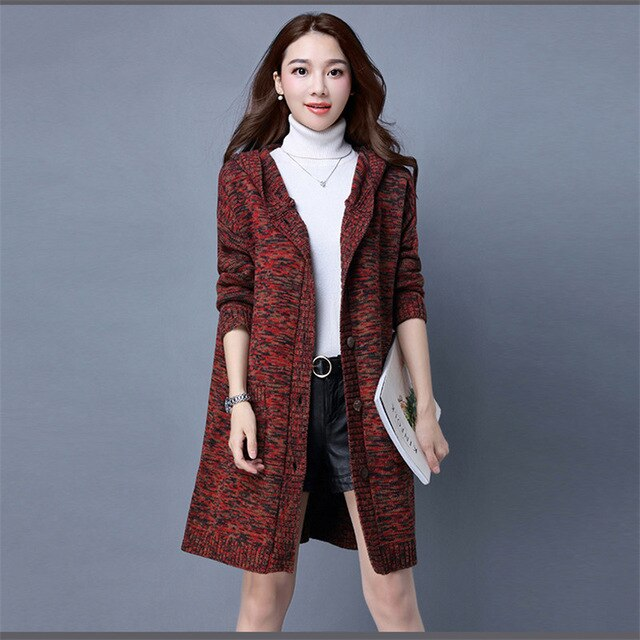 Sweater Coat Women Mediun long 2018 New Knitted Cardigan Loose Large size Hooded Jacket Casual Comfortable Female Sweater