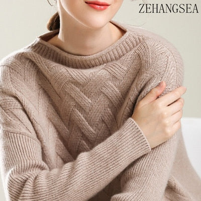 Autumn and winter new single-neck pure cashmere sweater fashion soft women's solid color loose sweater thick section