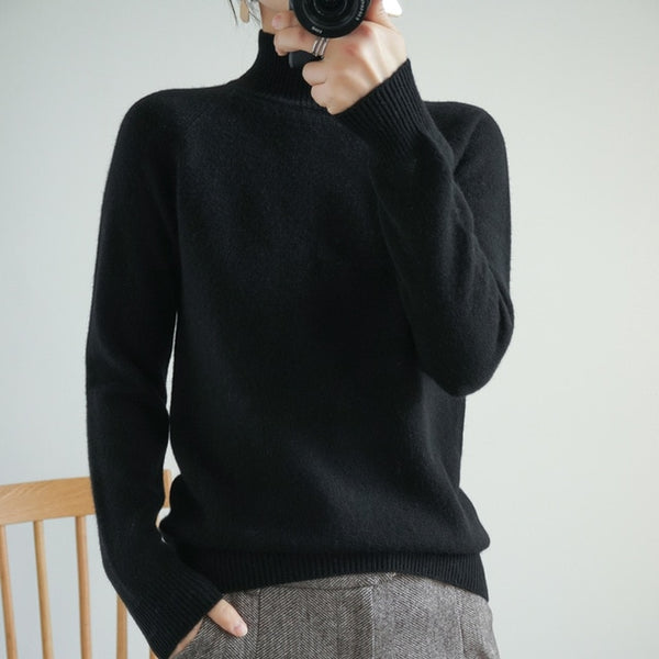 Women Sweater 100% Wool Knitted  Long Sleeve Turtleneck Pullover