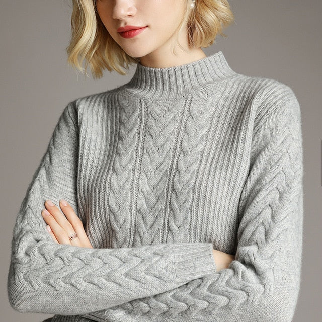 Smpevrg winter thick 100% wool women sweater female pullover long sleeve half turtleneck sweater womens pullovers female jumper