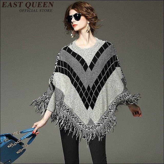 Big size female pullover Batwing long sleeve o-neck tassel top Loose fashion casual tassel tops  AA1676z
