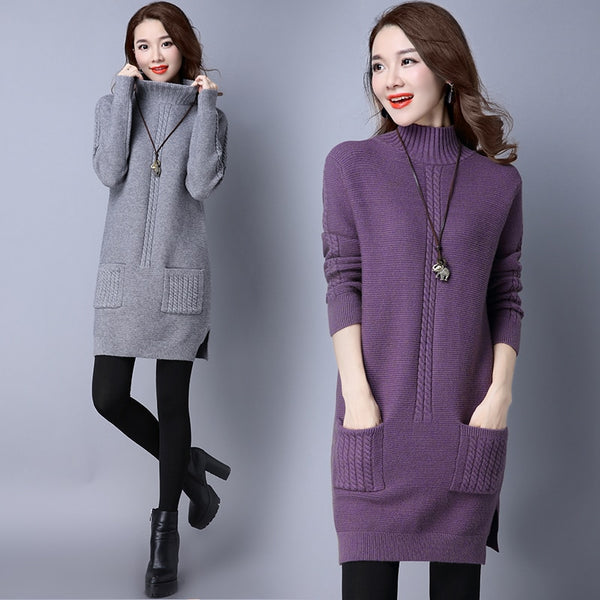 Sweater women's long section of semi-tall collar warm thin autumn and winter section thick cashmere sweater