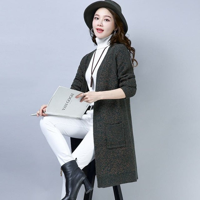 Autumn Winter Women Korean Style Cashmere Knitted Cardigan Sweater Coat Female Loose Wool Open Stitch Fashion Knitwear