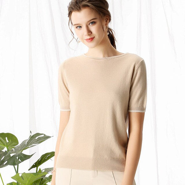 BELIARST 2019 Spring and Summer New Pure Cashmere Short Sleeve Women's Slim Cashmere Sweater Genuine Large Size O-Ne'c'k