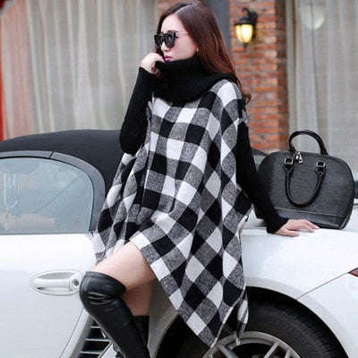 New ladies knitted wool cloak high collar plaid shawl winter warm jacket shawl Bat sleeves Woolen overcoat scarves for women