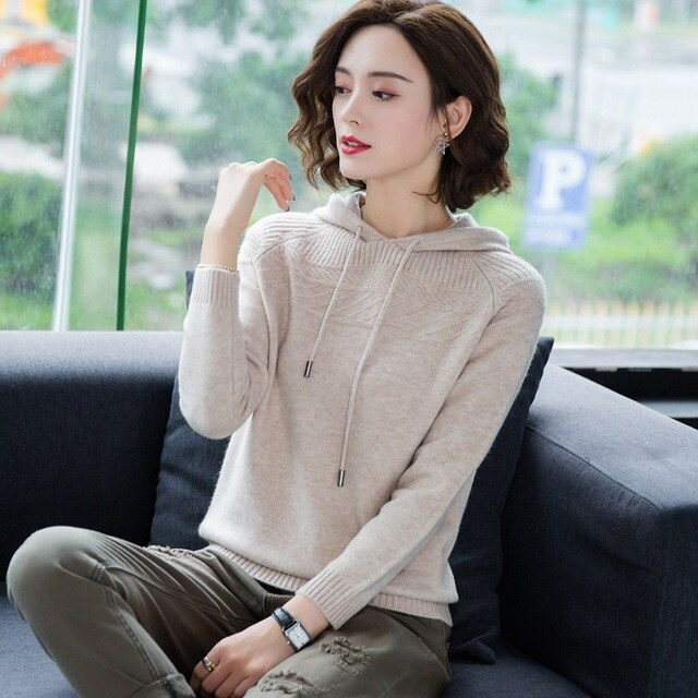 Cashmere Knitted Jumpers Woman Sweater Hooded Korean Style Hot Sale Fashion Pullover Female Woolen Knitwear Clothes Tops AA5079