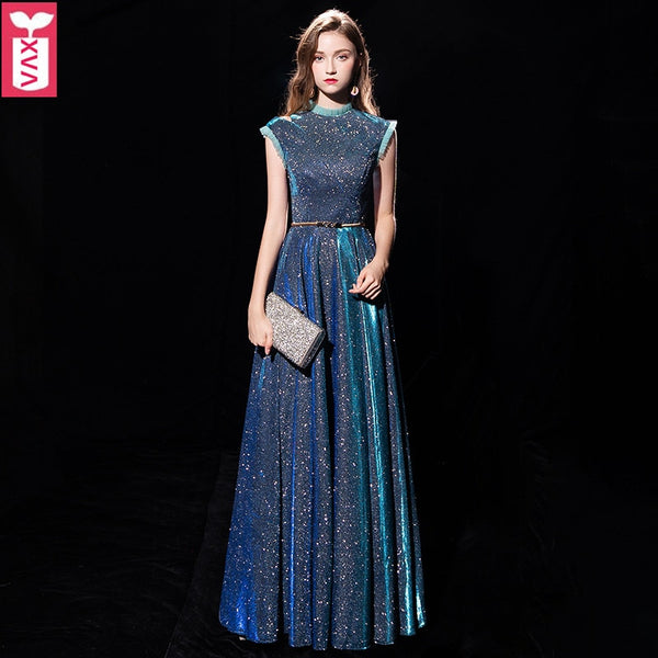 Custom Noble Starry Sky Gowns Evening Party Wedding Floor-length Dress Womens Birthday Blue Maxi long Dress 2019