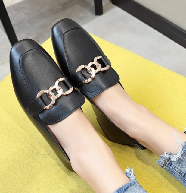 Fashion Women Flat Shoes Patent Leather Casual Metal Buckle Square Toe Boat Shoes