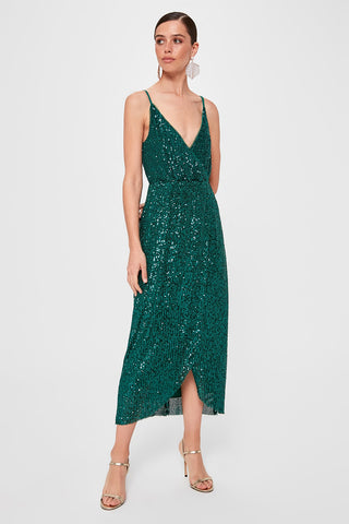 Trendyol Sequined Wraped Dress TPRSS19FZ0516