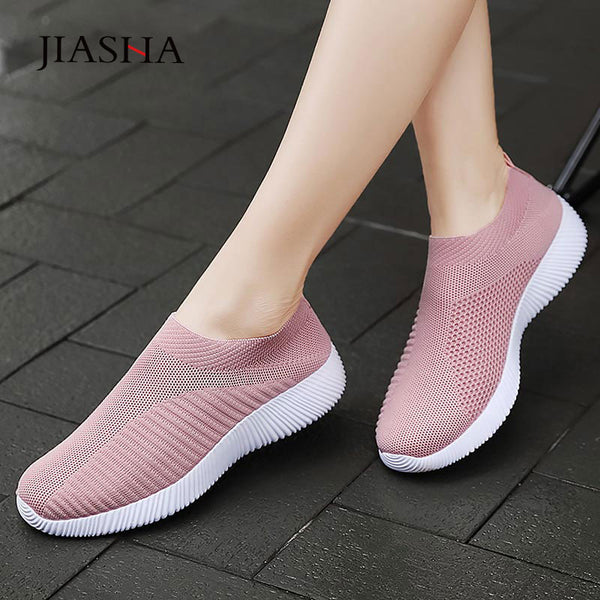 Fashion knitting breathable walking shoes slip on flat  comfortable casual