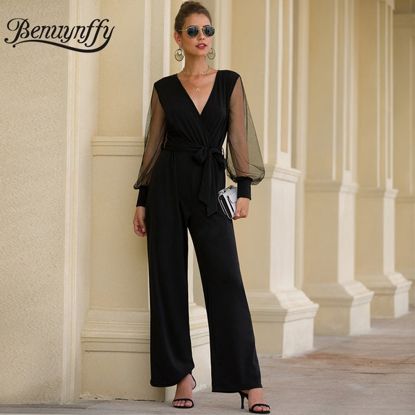 Office Lady Elegant Sexy V-neck Belted Jumpsuit