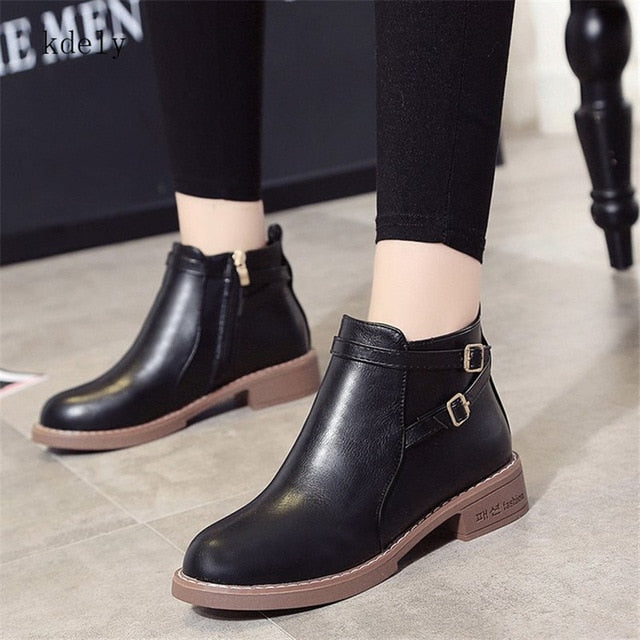 Women Ankle Martin Boots Casual Shoes Platform Round Toe Buckle Strap Solid Comfortable