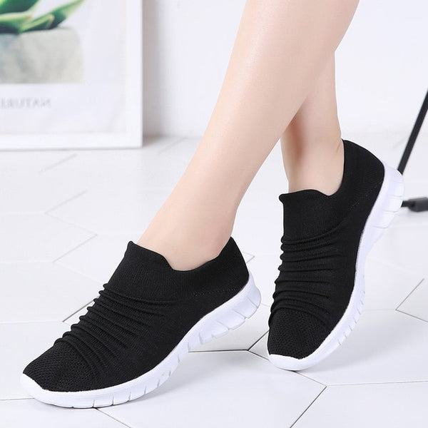 Sneakers Flats Shoes Summer Breathable Flying Weaving Casual  Slip-on Shoes