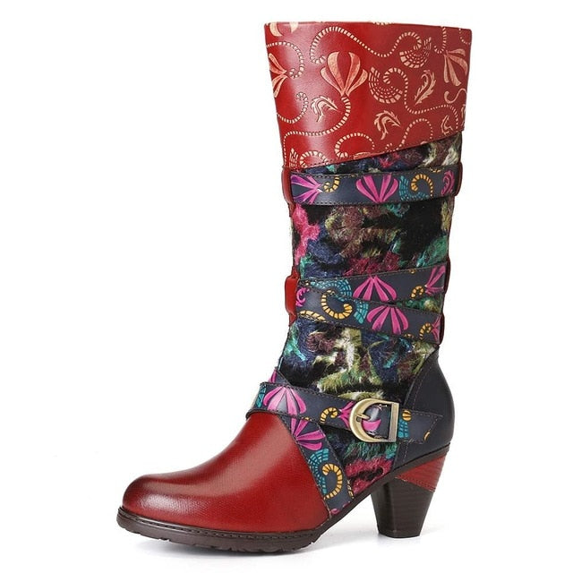 Retro Watercolor Embossed Decorated Buckle Strap Elegant Soft Mid Calf High Heel Boots