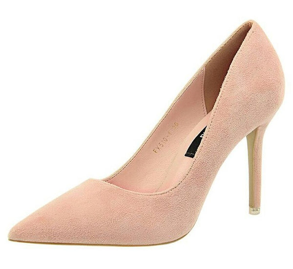 High Heel Woman Flock  Pumps  Office Shoes Pointed Toe Summer Heels