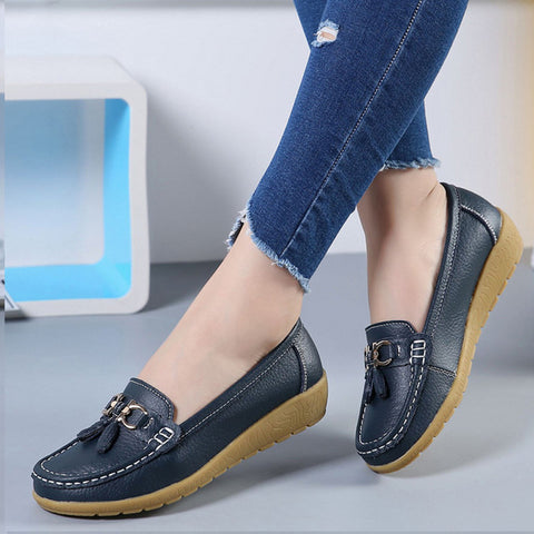 Flats Women Shoes Genuine Leather Ballet Shoes Moccasins Breathable Slip On Plus Size