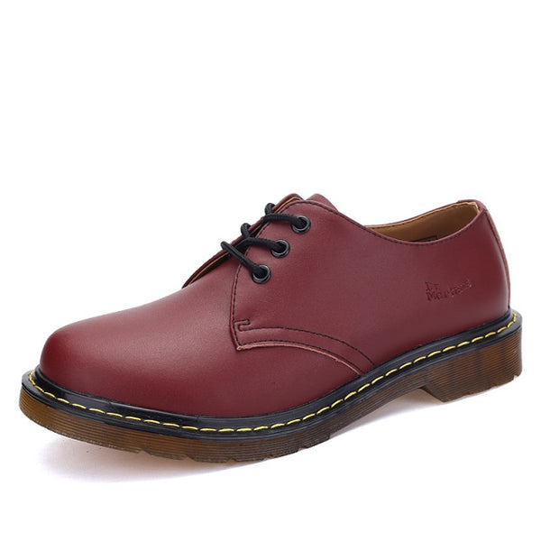 Women Leather lace-up Thick Bottom Flat Platform Martin Shoes Unisex Flats