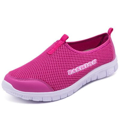 Women Sneakers Breathable Mesh Light Flat Loafers Casual Shoes  Walking Shoes Plus Size
