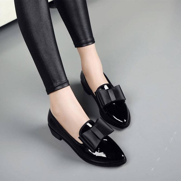 New Women Pumps Fashion Bowknot Shiny Patent Leather Block Chunky Low Heels pointed Toe