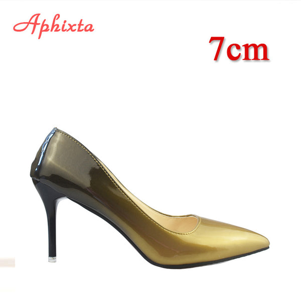Pointed Toe Women Thin Heel Shoes 10cm Heels Pointed Toe Patent Leather Wedding Party Shoes