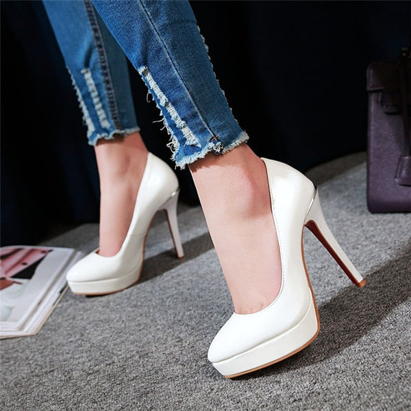 Big Size 48 Elegant Office Women Platform Pumps 12cm Super High Thin Spike Heel Dress Party Pointed Toe Red Patent Leather Pumps
