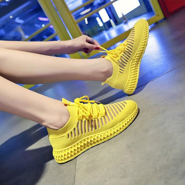 Sneakers Women Breathable Air Mesh Platform Shoes Casual Knitting Flats Shoes Chunky Platform