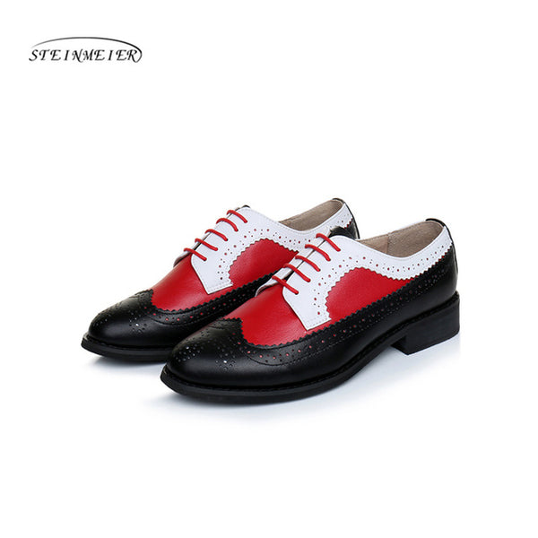 Women genuine leather oxford shoes flats handmade vintage retro lace up loafers