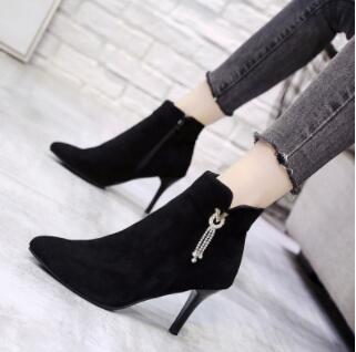 Winter Boots Ankle Boots Fashion High-heeled Pointed Short Boots