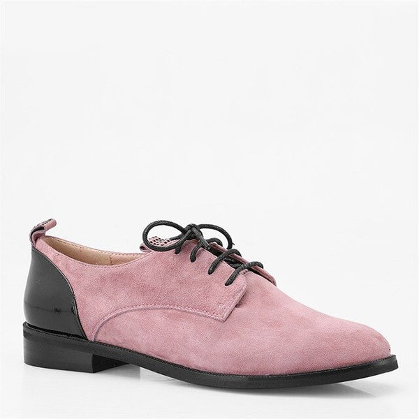 Quality Handmade Flats Genuine leather Round Toe Lace-up Casual Oxford Shoes