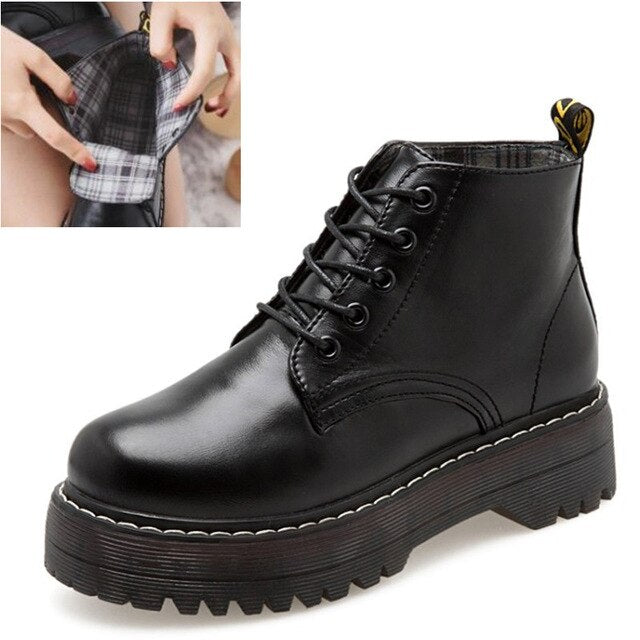 Women Boots Ankle Boots Winter Shoes Lace-Up Knitted Flat Rubber Boots