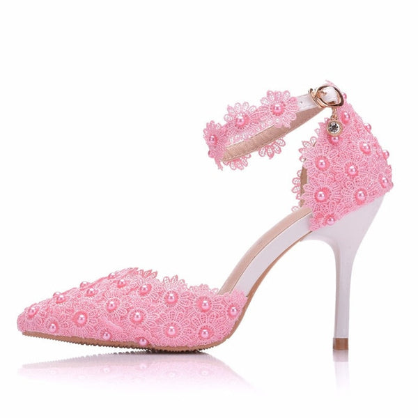 Pumps  shoes ankle strap rhinestone high heels shoes wedding  lace flowers high heel stiletto