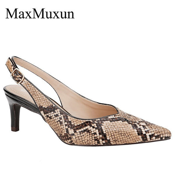 Classic Slingback Kitten Heels Dress Pump Snake Prints Pumps Shoes